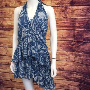 NWT Ralph Lauren Summer Blue Halter Mini Dress